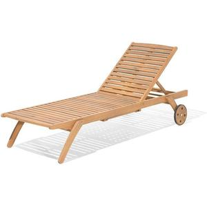Beliani Reclining Sun Lounger Acacia Wood CESANA